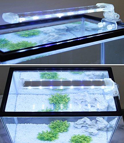 BPS® - Lampada per acquario a LED, illuminazione per piante subacquee, luce bianca e blu, 2 modelli...